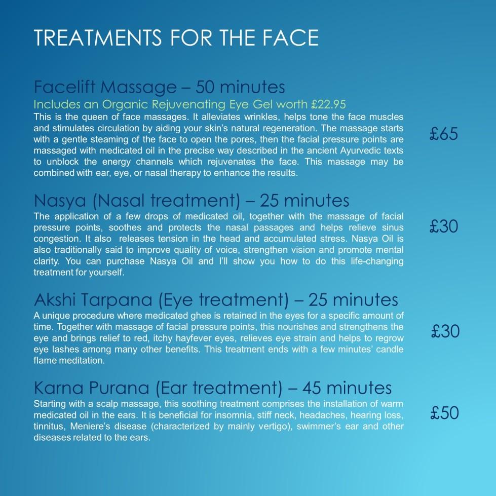pricelist blue face treatments 110520